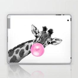 Bubble Gum Black and White Sneaky Giraffee Laptop & iPad Skin
