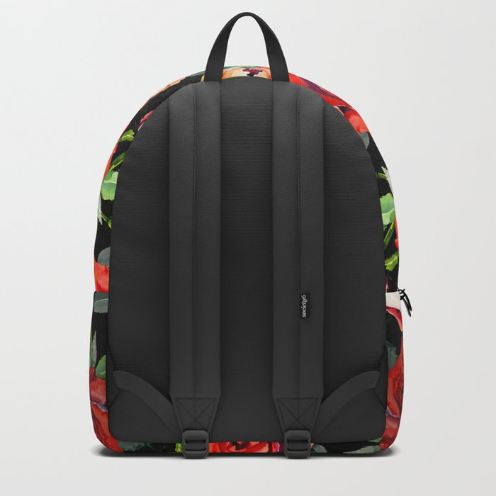 Hand painted black red watercolor roses floral Backpack