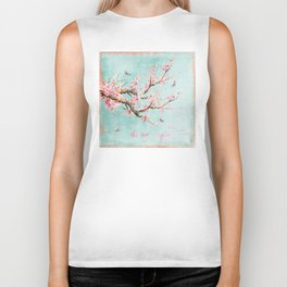 Its All Over Again - Romantic Spring Cherry Blossom Butterfly Illustration on Teal Watercolor Biker Tank