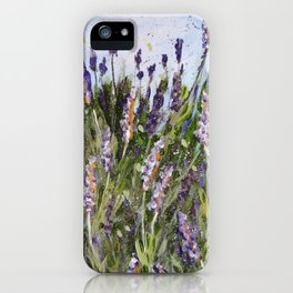 LAVENDER SPLASHES - Original abstract floral painting by HSIN LIN / HSIN LIN ART iPhone Case