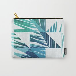Geometric Palm Leave - blue & green Carry-All Pouch