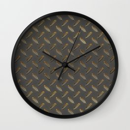 Metal - Checker plate gold reflections Wall Clock