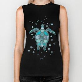 Glamour Aqua Turquoise Turtle Underwater Scenery Biker Tank