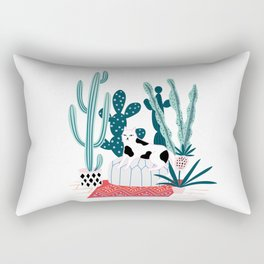 Cat and cacti Rectangular Pillow