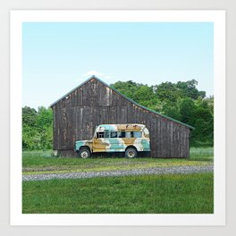 Barn with Cammo Bus Art Print