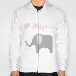 Abigail - Nursery Pink Grey Elephant Heart Hoody