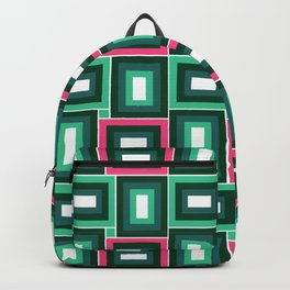 Mid-Century Modern Pink & Mint Green Squares Pattern Backpack