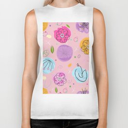Decorative Colorful Abstract Flower Pattern Biker Tank