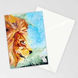 The Lion and the Rat - Animal - by LiliFlore Stationery Cards
