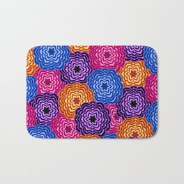 Dahlia Rainbow Multicolored Floral Abstract Pattern Bath Mat