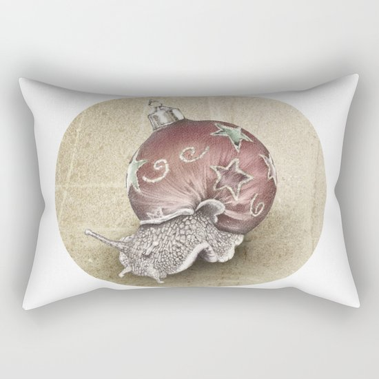 In which a snail is most festive this christmas  Rectangular Pillow