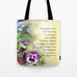 Serenity Prayer Pansies Tote Bag