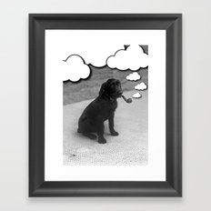 Pipe Puffing Dog Framed Art Print