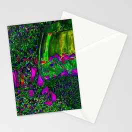 Abstract Wine Glass in Green Stationery Cards