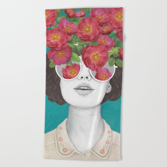 The optimist // rose tinted glasses Beach Towel
