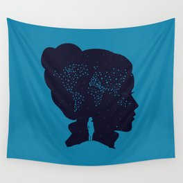 Stars World Map - Woman Silhouette Wall Tapestry