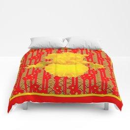 Red & Yellow Art Deco Style Iris Pattern Comforters