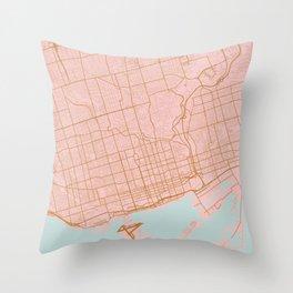 Pink and gold Toronto map, Canada Throw Pillow