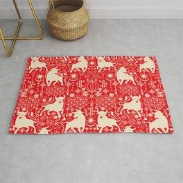 Ox Deco Ornamental Red Pattern Rug