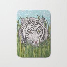White tiger in wild grass Bath Mat