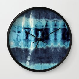 Vintage Turquoise Shibori Wall Clock