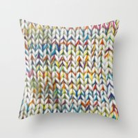 knit Throw Pillows featuring Knit Pattern  by Manuela Mishkova