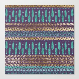 Gold Teal and Purple Arrows Tribal Aztec Pattern Canvas Print