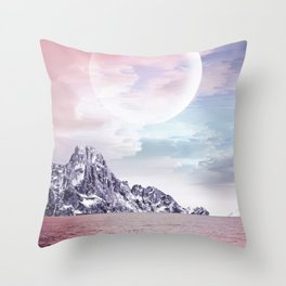 Moon on the Rocks Collage Throw Pillow