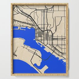 San Diego Street map art in blue and beige tonality Serving Tray