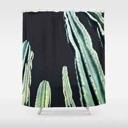 Green Cactus 8 at Night Shower Curtain