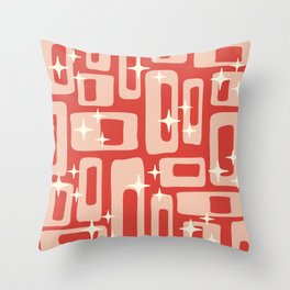 Retro Mid Century Modern Abstract Pattern 129 Red and Beige Throw Pillow