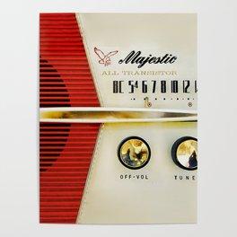 Retro red white radio Poster