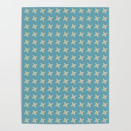 CONSTELLATION yellow stars with turquoise background Poster