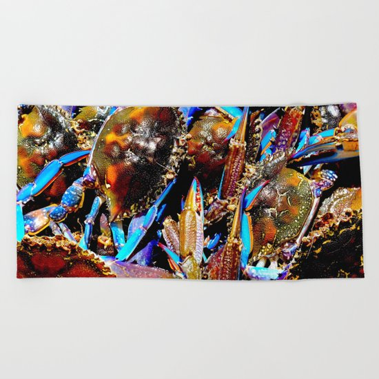bright Blue swimmer crabs, Whyalla, South Australia Beach Towel