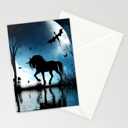 Beautiful unicorn with flying dragon in the sky Stationery Cards