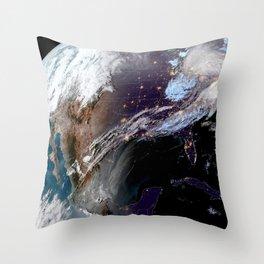 Satellite Map of USA Throw Pillow