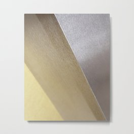 Minimalist Geometric Abstract Photography Silver Gold Industrial Cast Iron and Champaign Metal Print