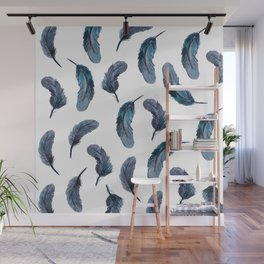 Feathers Watercolor Pattern Wall Mural