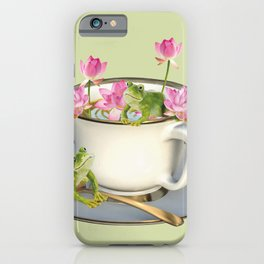 Cup with Lotos Flowers and two Frogs iPhone Case