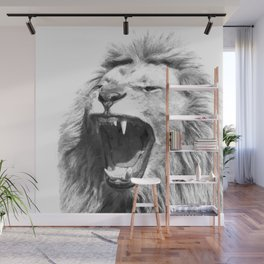 Black White Fierce Lion Wall Mural