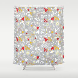 Hearts and Daisies Shower Curtain