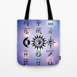 Zodiac Signs with The Moon The Sun and a Star Tote Bag
