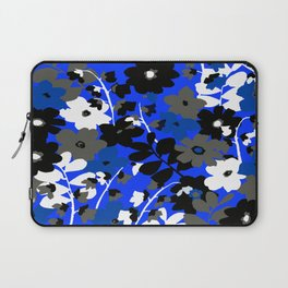 SUNFLOWER TRELLIS BLUE BLACK GRAY AND WHITE TOILE Laptop Sleeve