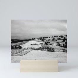 First winter snow in Oberon. NSW. Australia. Mini Art Print