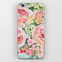 Cottage chic pink peony bouquet iPhone Skin