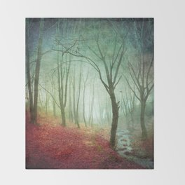 Misty Forest and Creek in Fall Throw Blanket