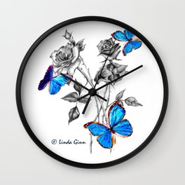 Morph Butterflies on Black and White Roses Wall Clock