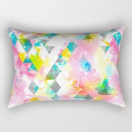 Rainbow Multi Color Triangles Watercolor Rectangular Pillow