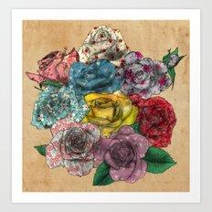 Flowers in Roses Art Print