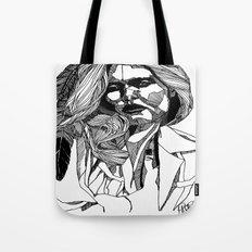 B&W Fashion Illustration - Feather Tote Bag